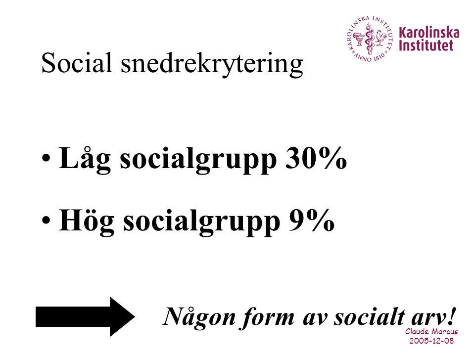 Claude Marcus 2005-12-08 Social snedrekrytering Låg socialgrupp 30% Hög socialgrupp 9% Någon form av socialt arv!