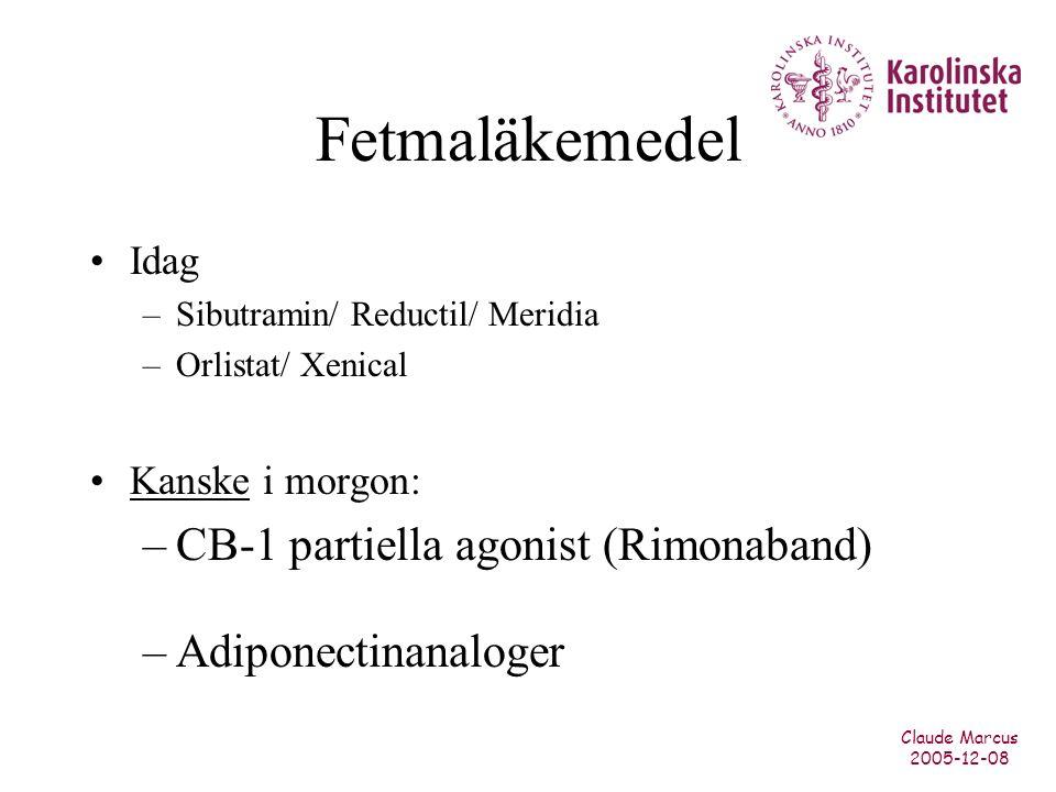 Claude Marcus 2005-12-08 Fetmaläkemedel Idag –Sibutramin/ Reductil/ Meridia –Orlistat/ Xenical Kanske i morgon: –CB-1 partiella agonist (Rimonaband) –Adiponectinanaloger