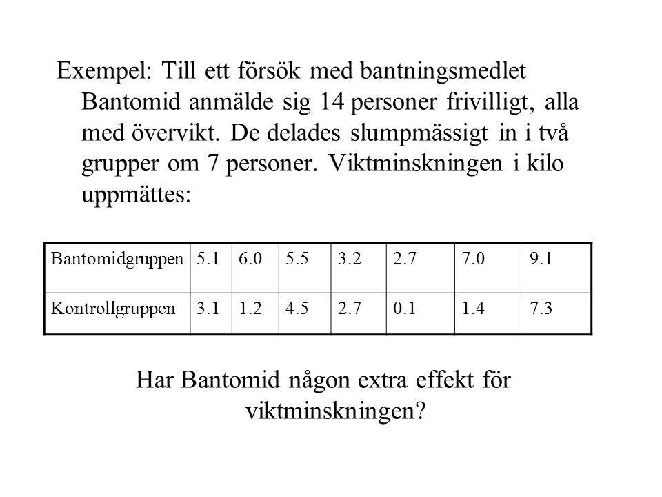 Bantomidgruppen: medelvärde = (5.1 + 6.0 + 5.5 + 3.2 + 2.7 + 7.0 + 9.1)/7=5.51 Kontrollgruppen: medelvärde = (3.1 + 1.2 + 4.5 + 2.7 + 0.1 + 1.4 + 7.3)/7=2.90 Skillnad=2.61 Kan skillnaden 2.61 förklaras av ren slumpvariation?