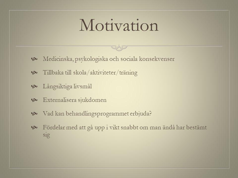 Motivation  Medicinska, psykologiska och sociala konsekvenser  Tillbaka till skola/aktiviteter/träning  Långsiktiga livsmål  Externalisera sjukdom
