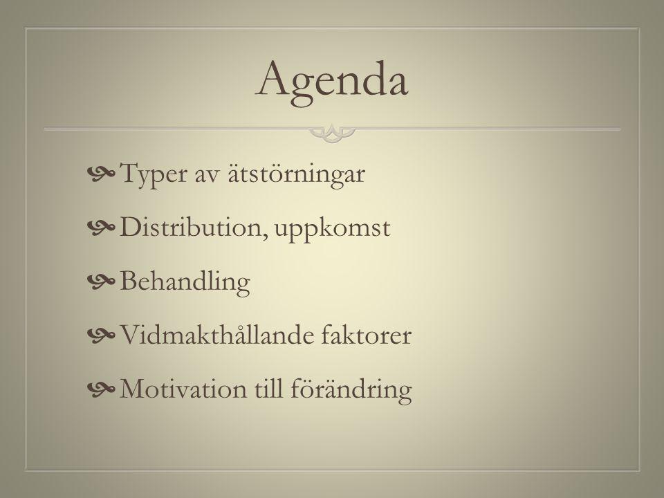Agenda  Typer av ätstörningar  Distribution, uppkomst  Behandling  Vidmakthållande faktorer  Motivation till förändring