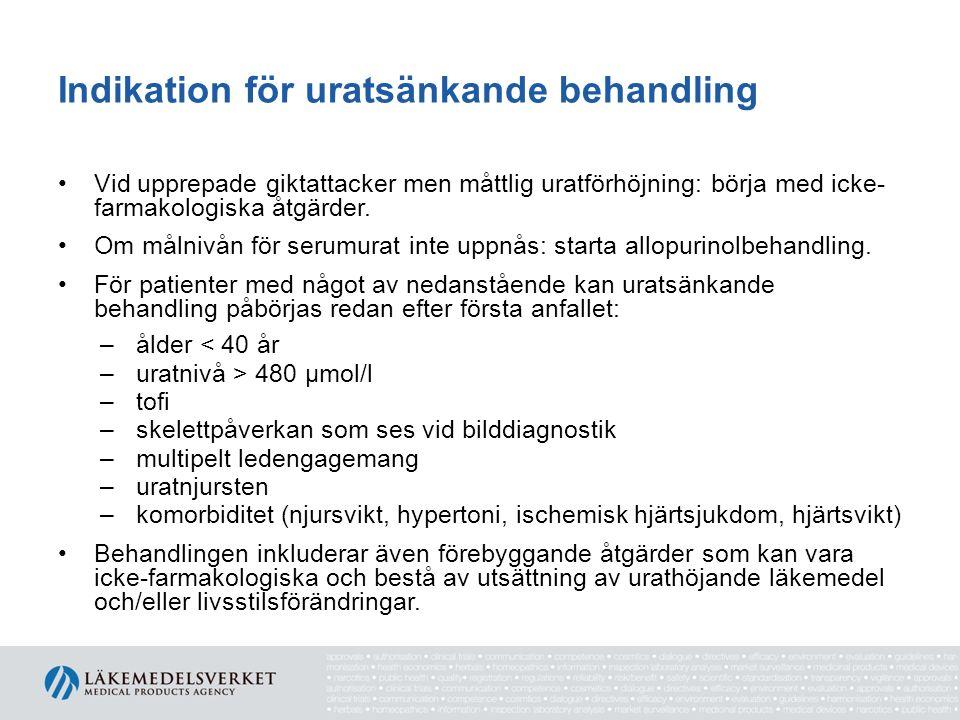 Indikation för uratsänkande behandling Vid upprepade giktattacker men måttlig uratförhöjning: börja med icke- farmakologiska åtgärder.