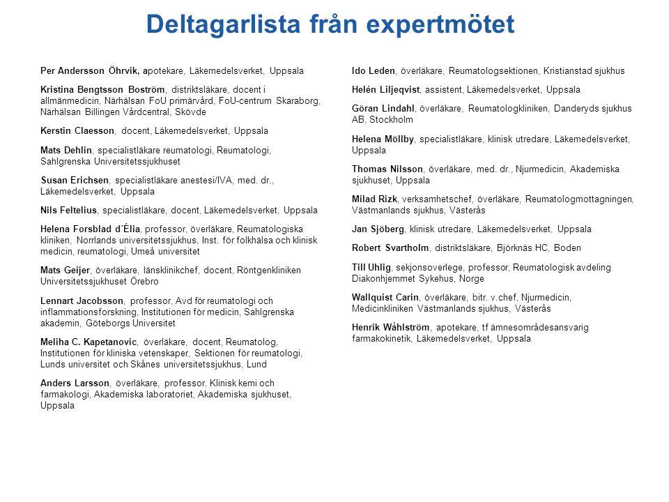 Deltagarlista från expertmötet Per Andersson Öhrvik, apotekare, Läkemedelsverket, Uppsala Kristina Bengtsson Boström, distriktsläkare, docent i allmän