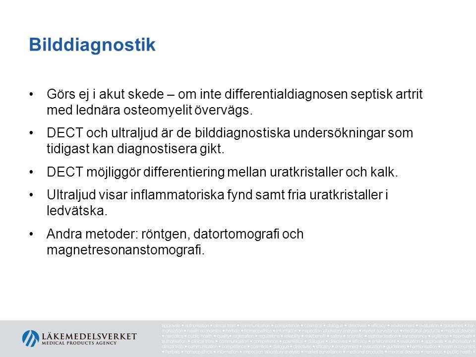 Bilddiagnostik Görs ej i akut skede – om inte differentialdiagnosen septisk artrit med lednära osteomyelit övervägs.