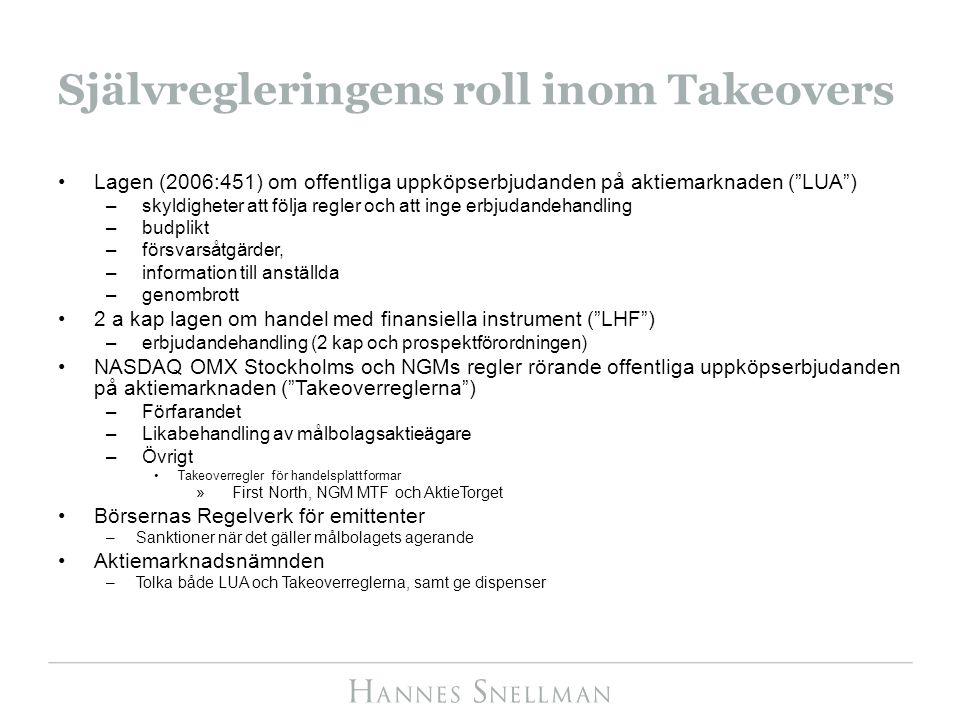 Självregleringens roll inom Takeovers Lagen (2006:451) om offentliga uppköpserbjudanden på aktiemarknaden ( LUA ) –skyldigheter att följa regler och att inge erbjudandehandling –budplikt –försvarsåtgärder, –information till anställda –genombrott 2 a kap lagen om handel med finansiella instrument ( LHF ) –erbjudandehandling (2 kap och prospektförordningen) NASDAQ OMX Stockholms och NGMs regler rörande offentliga uppköpserbjudanden på aktiemarknaden ( Takeoverreglerna ) –Förfarandet –Likabehandling av målbolagsaktieägare –Övrigt Takeoverregler för handelsplattformar »First North, NGM MTF och AktieTorget Börsernas Regelverk för emittenter –Sanktioner när det gäller målbolagets agerande Aktiemarknadsnämnden –Tolka både LUA och Takeoverreglerna, samt ge dispenser