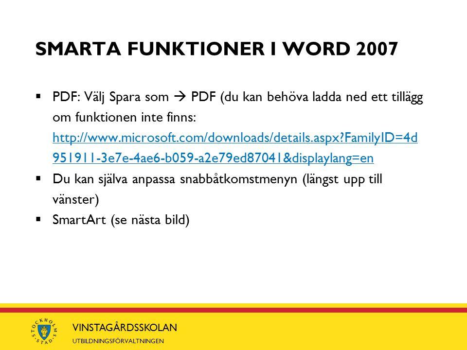 VINSTAGÅRDSSKOLAN UTBILDNINGSFÖRVALTNINGEN SMARTA FUNKTIONER I WORD 2007  PDF: Välj Spara som  PDF (du kan behöva ladda ned ett tillägg om funktionen inte finns: http://www.microsoft.com/downloads/details.aspx FamilyID=4d 951911-3e7e-4ae6-b059-a2e79ed87041&displaylang=en http://www.microsoft.com/downloads/details.aspx FamilyID=4d 951911-3e7e-4ae6-b059-a2e79ed87041&displaylang=en  Du kan själva anpassa snabbåtkomstmenyn (längst upp till vänster)  SmartArt (se nästa bild)