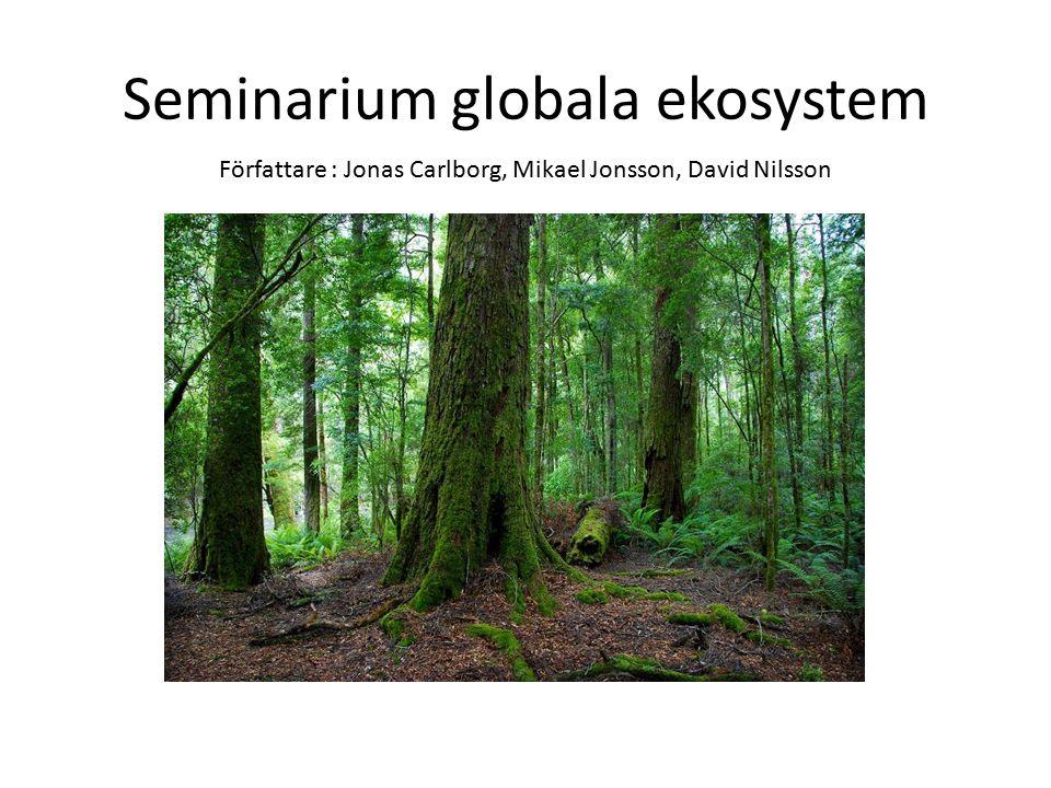 Seminarium globala ekosystem Författare : Jonas Carlborg, Mikael Jonsson, David Nilsson