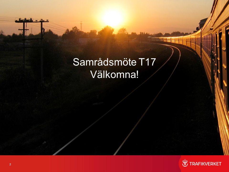 3 RumTidBana/företeelseBerörda JF 2071 (28 platser)12.00-12.15Inledning Samtliga 2071 (28)12.15-18.00Diskussionsrum Samtliga har tillgång 2091 (6)12.15-18.00 JF-rum Samtliga har tillgång 2095 (20) 12.15-13.15Norge Vänerbanan -AT-linan Norge Vänerbanan -Övrigt SJ AB, Cargonet, Tågkompaniet, Tågab, Green Cargo, Hector Rail, Västtrafik 2066 (20) 12.15.00-14.30Västra Stambanan Resandetåg -Lösningsdiskussion tåg 504, 446, 3942 mfl -Lösningsdiskussion tåg 632, 3940, 2440 mfl -Lösningsdiskussion tåg 7071 -Lösningsdiskussion tåg 644, 2044, 204, (9826) mfl -Lösningsdiskussion 636, 436, 536 -Övrigt MTR Nordic, SJ AB, Skandinaviska Jernbanor, Stockholms läns landsting, Transdev, Tågab, Västtrafik, Mälab, 2077 (14)12.15-14.30 SSB, inkl Öresundsbron, Godståg -Lösningsdiskussion 4164 -Lösningsdiskussion tåg 7593 -Lösningsdiskussion tåg 69290 -Lösningsdiskussion 5520, 4325 Tornhill avstängt vissa veckor -Hantering Älmhult -Övrigt CFL Cargo, DB Cargo, Green Cargo, Hector Rail, Real Rail, TX Logistik, Tågab, Rush Rail 2075 (8)12.15-13.30 Öresundsbron-Malmö -Gränskontroller -Övrigt SJ AB, Öresundståg, Transdev, Skånetrafiken 2095 (20)13.15-14.30 Värmlandsbanan -Gemensamma frågor -Övrigt Cargonet, SJ AB, Tågkompaniet, Tågab, Green Cargo, Hector Rail, Rush Rail Agenda Samrådsmöte 160613