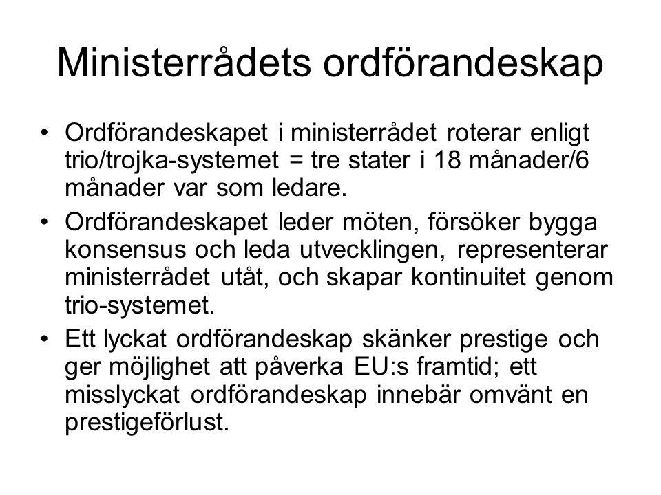 Ministerrådets ordförandeskap Ordförandeskapet i ministerrådet roterar enligt trio/trojka-systemet = tre stater i 18 månader/6 månader var som ledare.