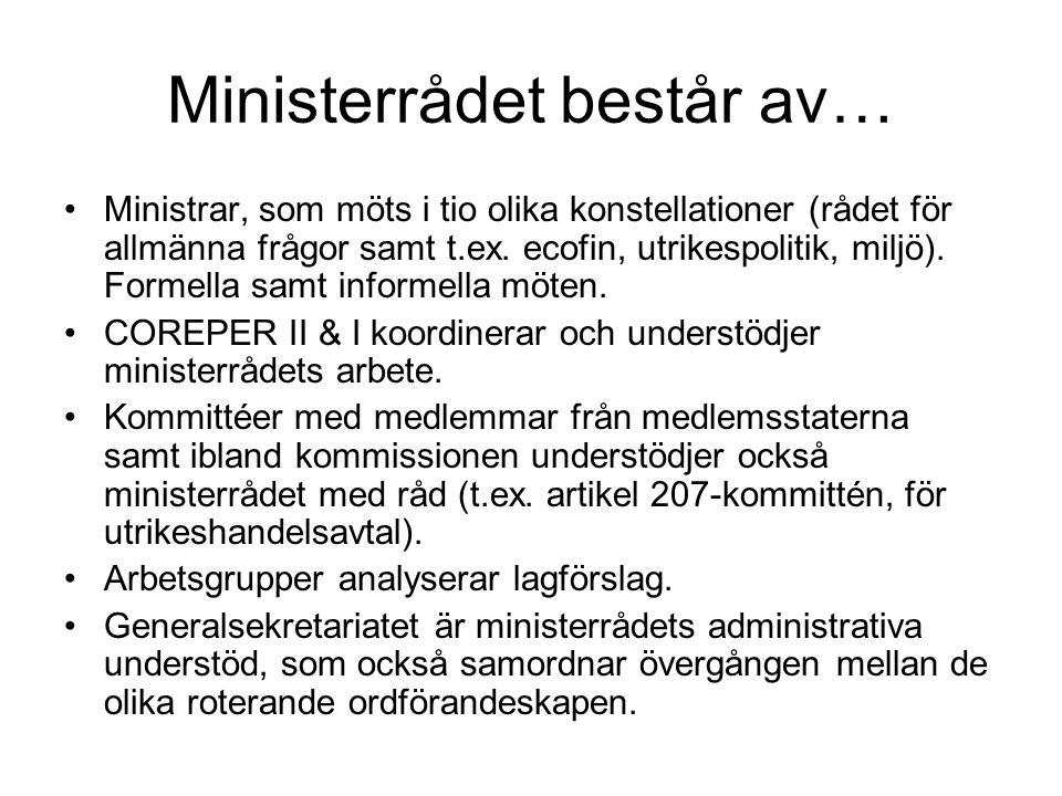 Ministerrådet består av… Ministrar, som möts i tio olika konstellationer (rådet för allmänna frågor samt t.ex.