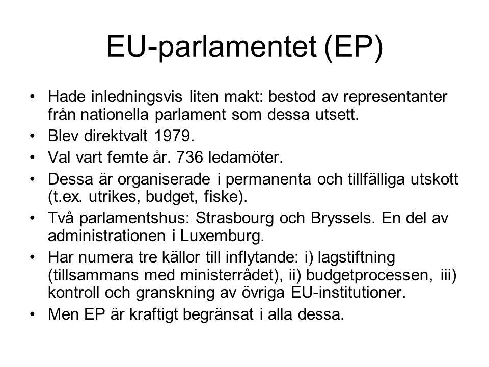 EU-parlamentet (EP) Hade inledningsvis liten makt: bestod av representanter från nationella parlament som dessa utsett.