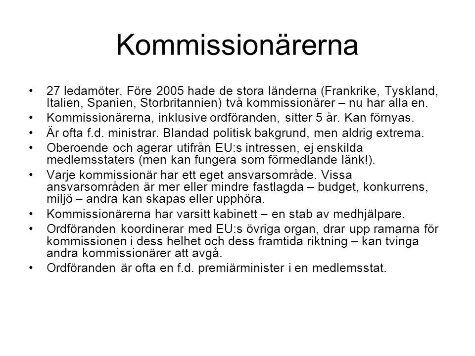 Kommissionärerna 27 ledamöter.