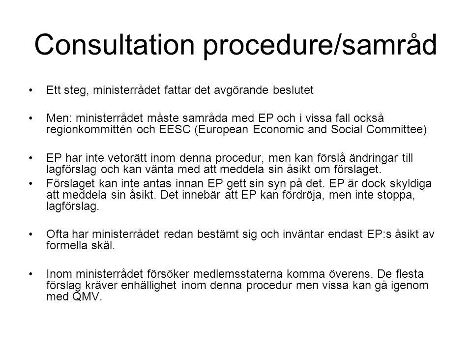 Consultation procedure/samråd Ett steg, ministerrådet fattar det avgörande beslutet Men: ministerrådet måste samråda med EP och i vissa fall också regionkommittén och EESC (European Economic and Social Committee) EP har inte vetorätt inom denna procedur, men kan förslå ändringar till lagförslag och kan vänta med att meddela sin åsikt om förslaget.
