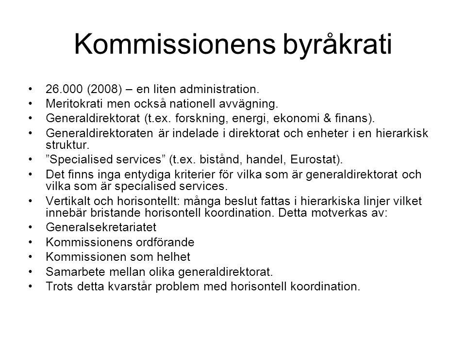 Kommissionens makt Föreslår och utvecklar policy och lagstiftning (i det senare fallet oftast med ensamrätt).