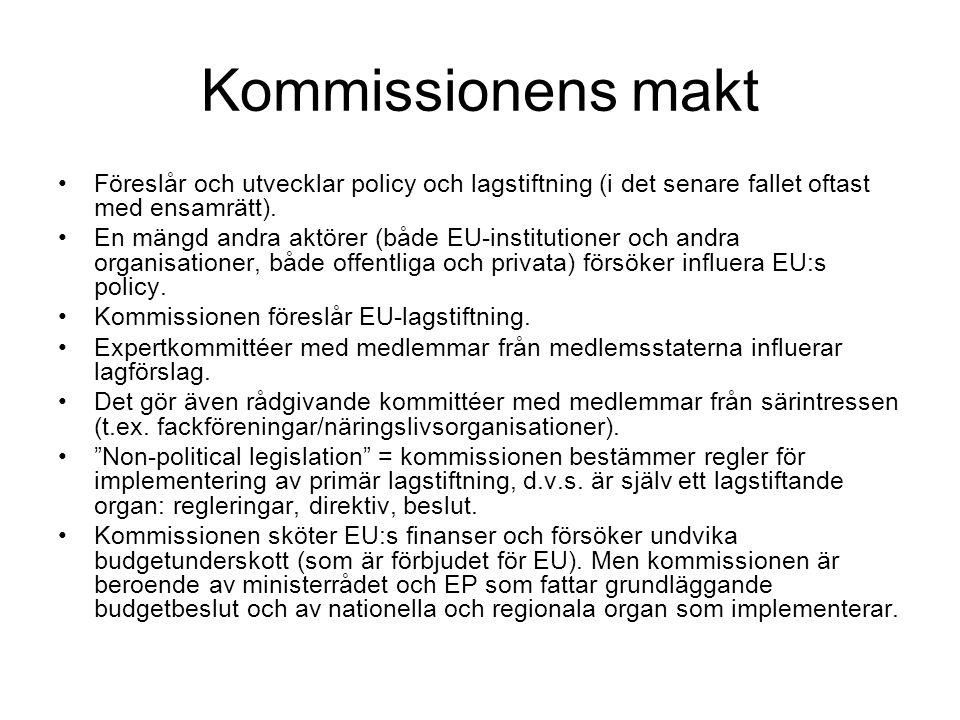 Sätt för EP att påverka EU:s lagstiftning Diskutera enskilda förslag med kommissionen Ta initiativ till egna förslag eller kräva (genom majoritet i EP) att kommissionen utarbetar ett förslag.