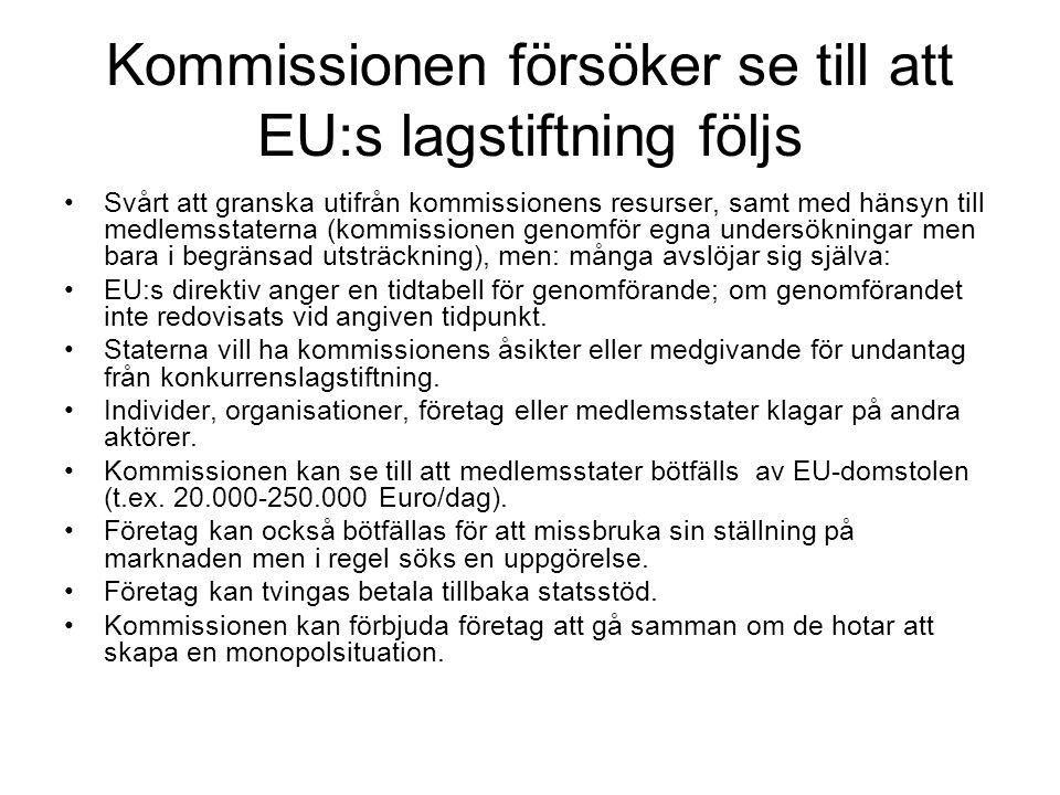 Kommissionen försöker se till att EU:s lagstiftning följs Svårt att granska utifrån kommissionens resurser, samt med hänsyn till medlemsstaterna (kommissionen genomför egna undersökningar men bara i begränsad utsträckning), men: många avslöjar sig själva: EU:s direktiv anger en tidtabell för genomförande; om genomförandet inte redovisats vid angiven tidpunkt.