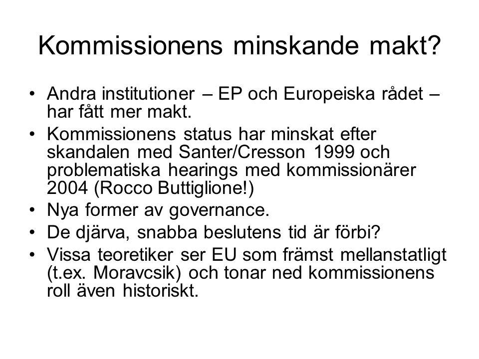 Kommissionens minskande makt. Andra institutioner – EP och Europeiska rådet – har fått mer makt.