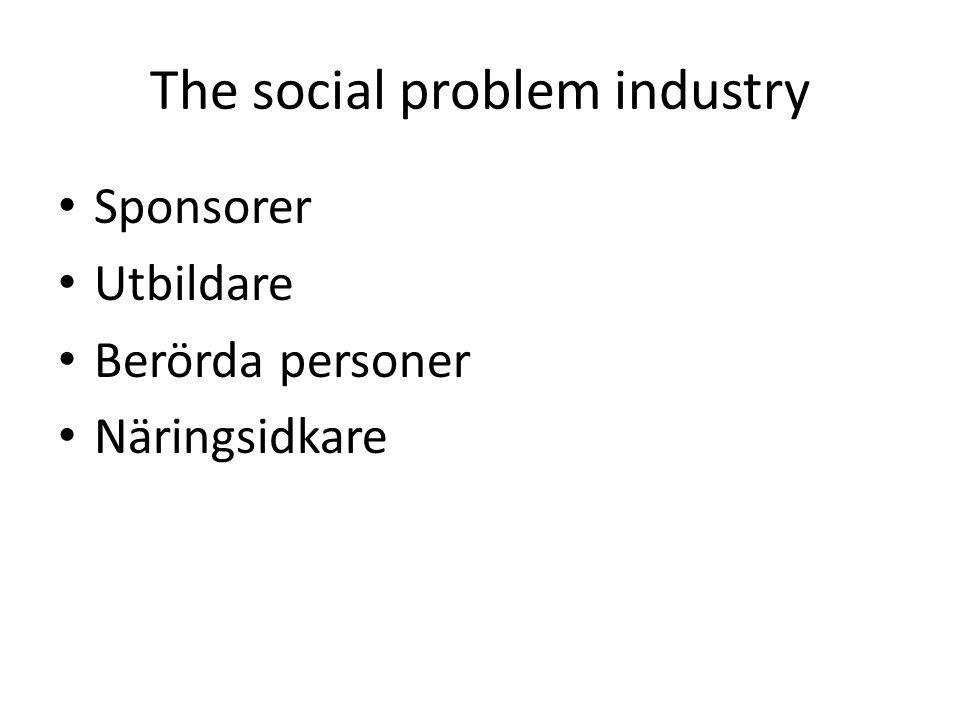 The social problem industry Sponsorer Utbildare Berörda personer Näringsidkare