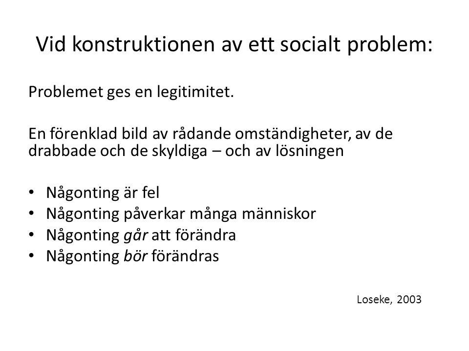 Vid konstruktionen av ett socialt problem: Problemet ges en legitimitet.