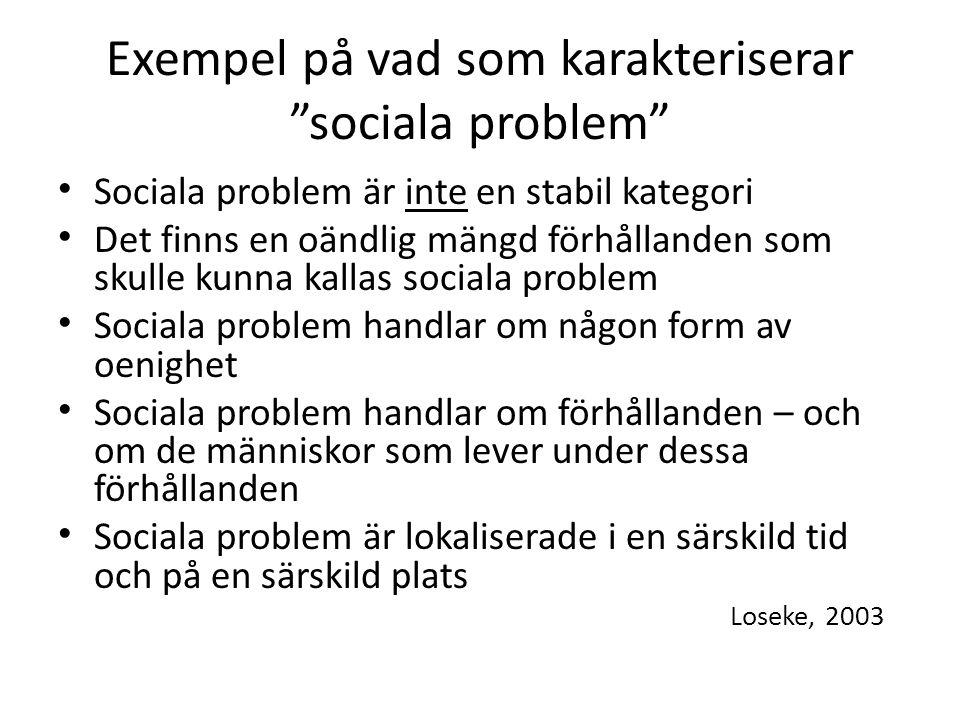Exempel på vad som karakteriserar sociala problem Sociala problem är inte en stabil kategori Det finns en oändlig mängd förhållanden som skulle kunna kallas sociala problem Sociala problem handlar om någon form av oenighet Sociala problem handlar om förhållanden – och om de människor som lever under dessa förhållanden Sociala problem är lokaliserade i en särskild tid och på en särskild plats Loseke, 2003