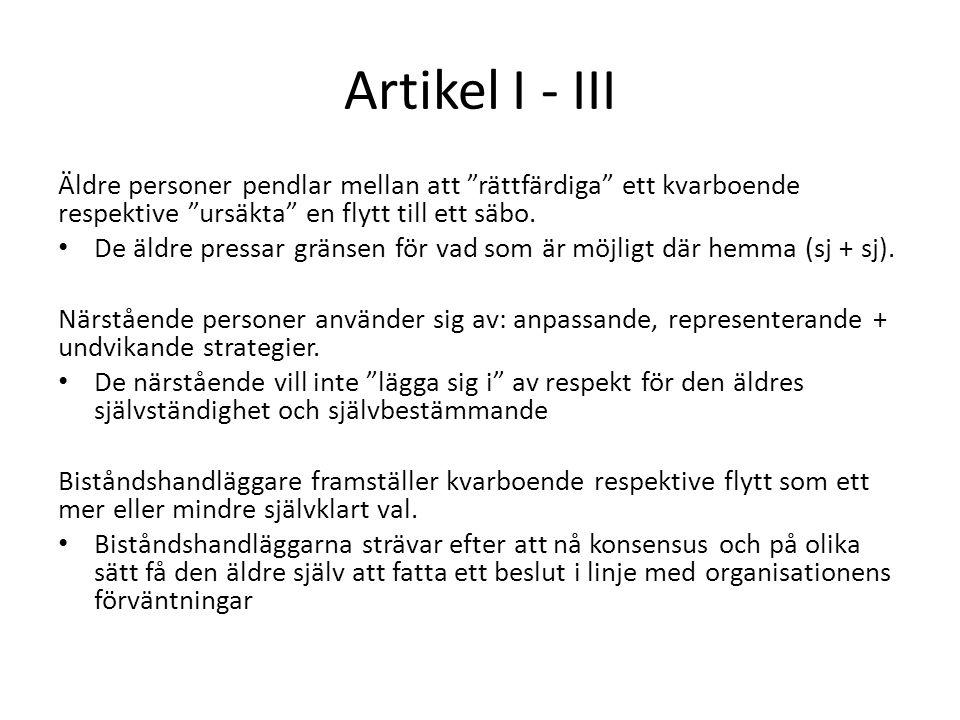 Artikel I - III Äldre personer pendlar mellan att rättfärdiga ett kvarboende respektive ursäkta en flytt till ett säbo.