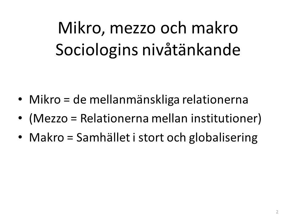 Mikro, mezzo och makro Sociologins nivåtänkande Mikro = de mellanmänskliga relationerna (Mezzo = Relationerna mellan institutioner) Makro = Samhället i stort och globalisering 2
