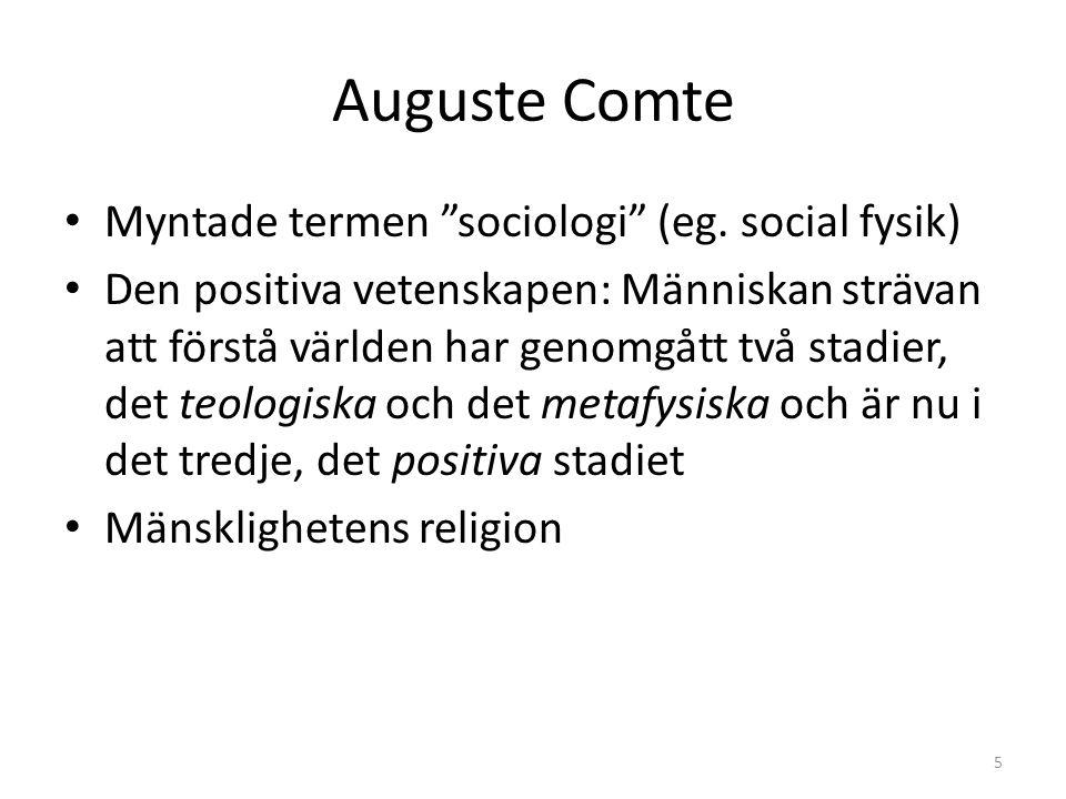 Auguste Comte Myntade termen sociologi (eg.