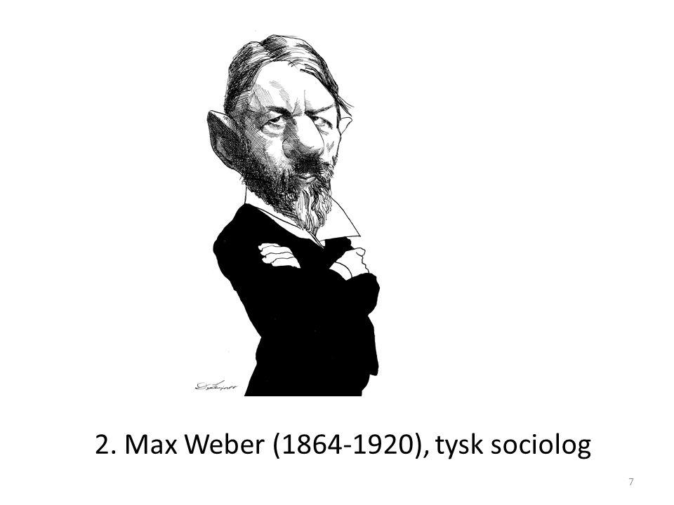 2. Max Weber (1864-1920), tysk sociolog 7