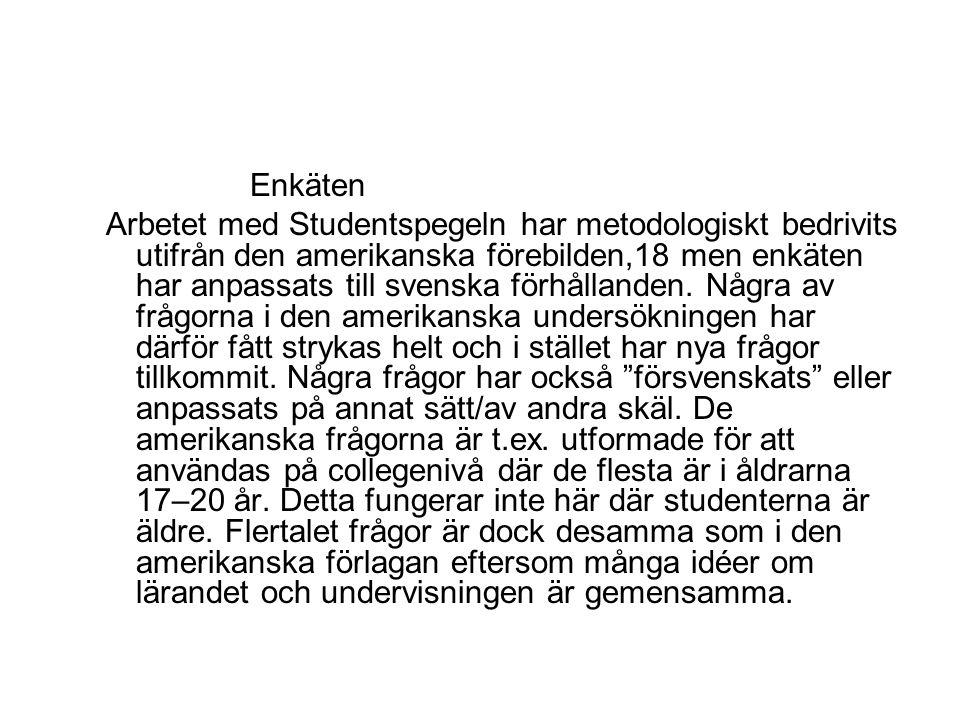 Enkäten Arbetet med Studentspegeln har metodologiskt bedrivits utifrån den amerikanska förebilden,18 men enkäten har anpassats till svenska förhållanden.