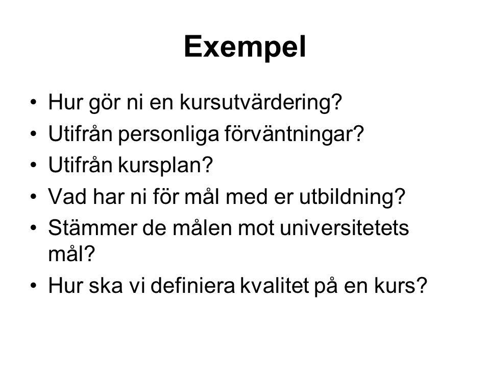 Exempel Hur gör ni en kursutvärdering.Utifrån personliga förväntningar.