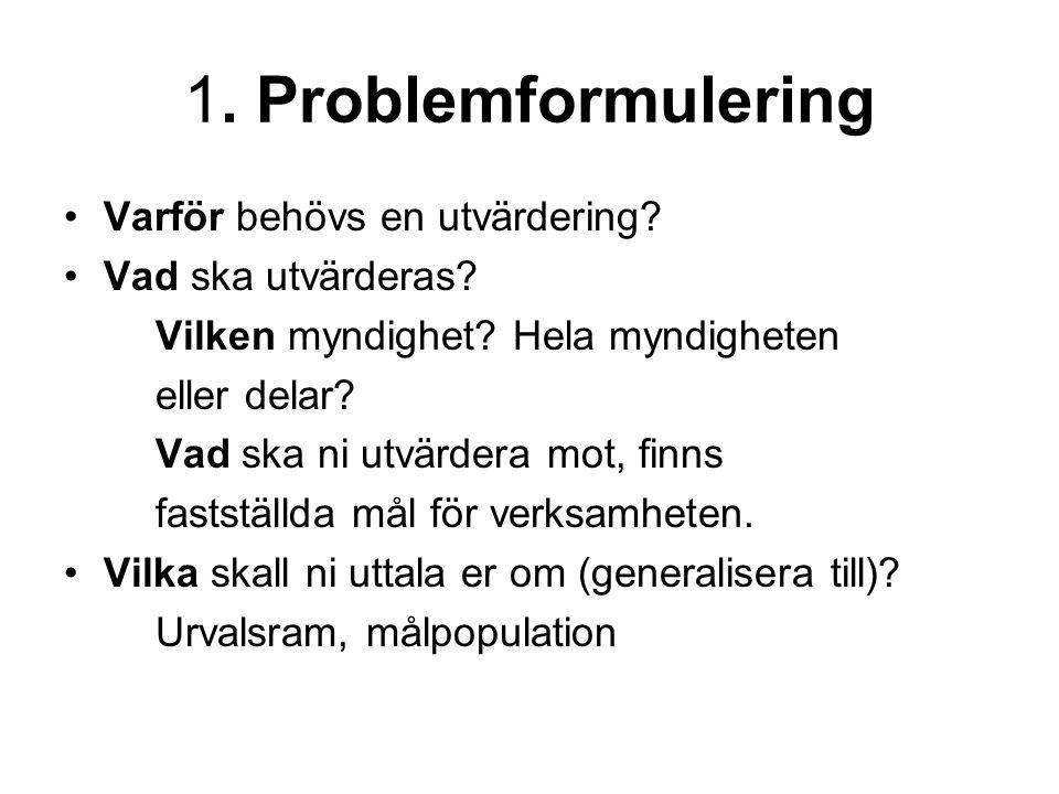 1. Problemformulering Varför behövs en utvärdering.