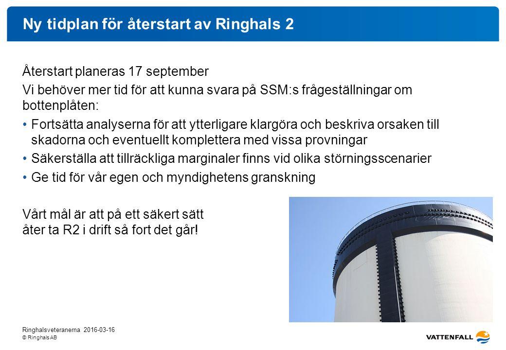 © Ringhals AB Ny tidplan för återstart av Ringhals 2 Återstart planeras 17 september Vi behöver mer tid för att kunna svara på SSM:s frågeställningar