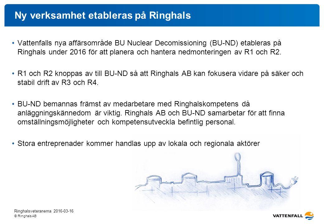 © Ringhals AB Ringhalsveteranerna 2016-03-16 Ny verksamhet etableras på Ringhals Vattenfalls nya affärsområde BU Nuclear Decomissioning (BU-ND) etableras på Ringhals under 2016 för att planera och hantera nedmonteringen av R1 och R2.