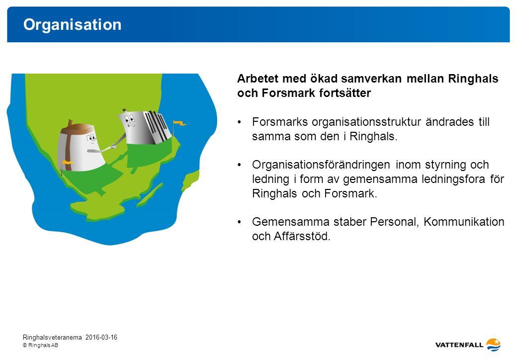 © Ringhals AB Organisation Ringhalsveteranerna 2016-03-16 Arbetet med ökad samverkan mellan Ringhals och Forsmark fortsätter Forsmarks organisationsstruktur ändrades till samma som den i Ringhals.