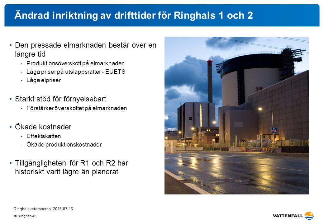 © Ringhals AB Ändrad inriktning av drifttider för Ringhals 1 och 2 Den pressade elmarknaden består över en längre tid -Produktionsöverskott på elmarkn