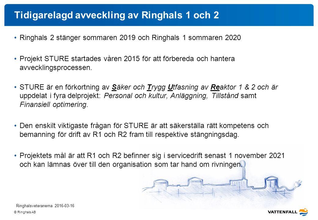 © Ringhals AB Tidigarelagd avveckling av Ringhals 1 och 2 Ringhals 2 stänger sommaren 2019 och Ringhals 1 sommaren 2020 Projekt STURE startades våren 2015 för att förbereda och hantera avvecklingsprocessen.