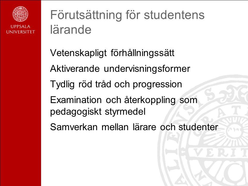 Förutsättning för studentens lärande Vetenskapligt förhållningssätt Aktiverande undervisningsformer Tydlig röd tråd och progression Examination och återkoppling som pedagogiskt styrmedel Samverkan mellan lärare och studenter
