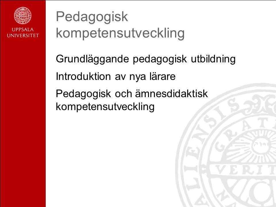 Pedagogisk kompetensutveckling Grundläggande pedagogisk utbildning Introduktion av nya lärare Pedagogisk och ämnesdidaktisk kompetensutveckling