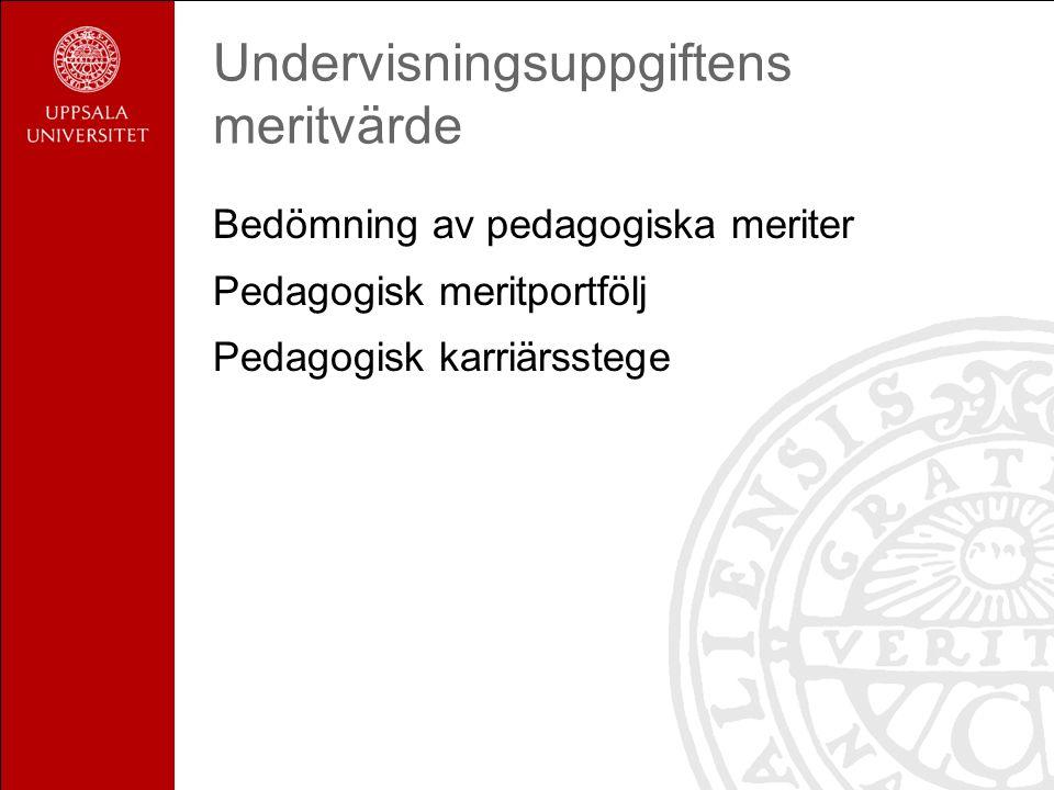 Undervisningsuppgiftens meritvärde Bedömning av pedagogiska meriter Pedagogisk meritportfölj Pedagogisk karriärsstege