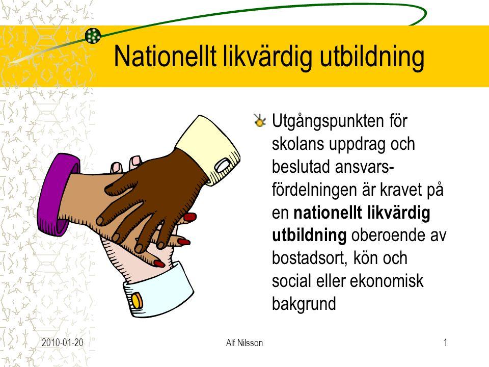 2010-01-20Alf Nilsson1 Nationellt likvärdig utbildning Utgångspunkten för skolans uppdrag och beslutad ansvars- fördelningen är kravet på en nationellt likvärdig utbildning oberoende av bostadsort, kön och social eller ekonomisk bakgrund