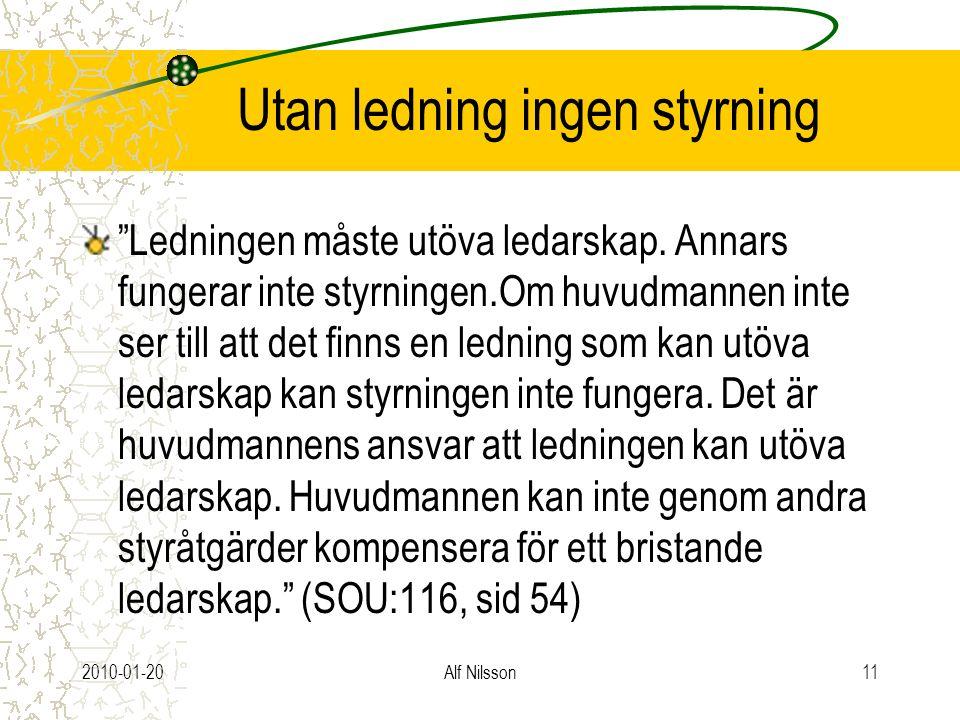 """2010-01-20Alf Nilsson11 Utan ledning ingen styrning """"Ledningen måste utöva ledarskap. Annars fungerar inte styrningen.Om huvudmannen inte ser till att"""