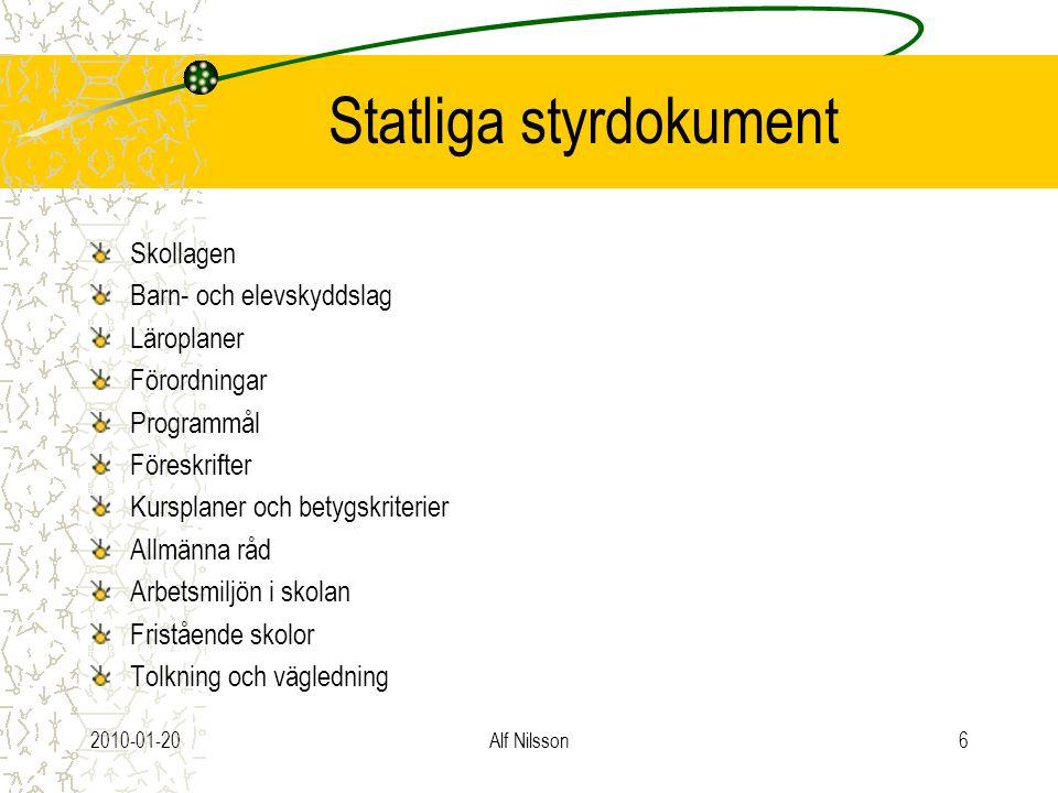 2010-01-20Alf Nilsson6 Statliga styrdokument Skollagen Barn- och elevskyddslag Läroplaner Förordningar Programmål Föreskrifter Kursplaner och betygskr