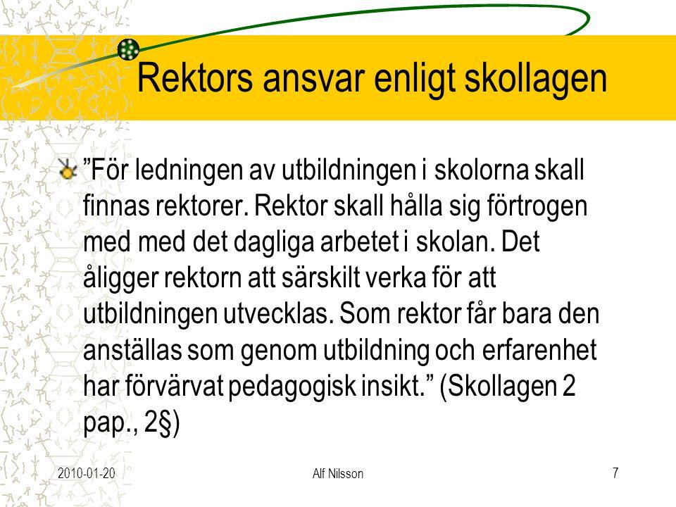"""2010-01-20Alf Nilsson7 Rektors ansvar enligt skollagen """"För ledningen av utbildningen i skolorna skall finnas rektorer. Rektor skall hålla sig förtrog"""