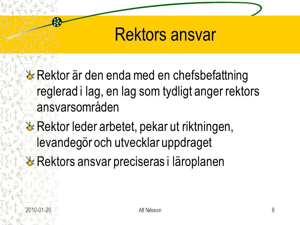 2010-01-20Alf Nilsson8 Rektors ansvar Rektor är den enda med en chefsbefattning reglerad i lag, en lag som tydligt anger rektors ansvarsområden Rektor