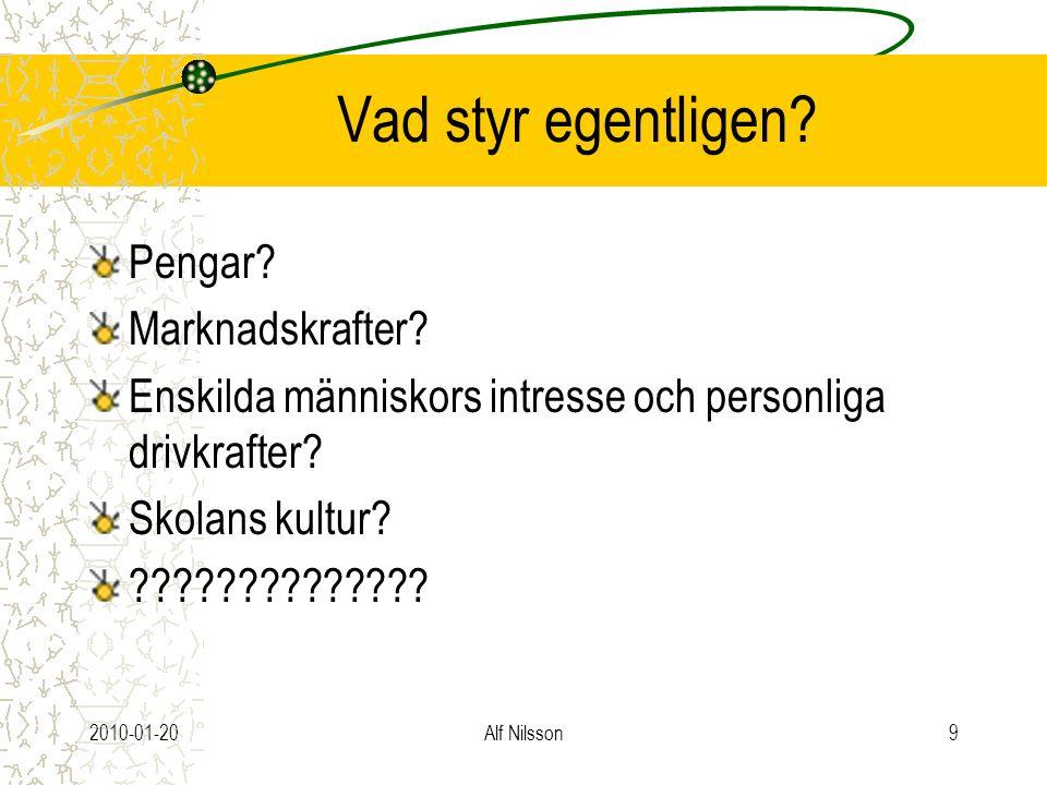 2010-01-20Alf Nilsson9 Vad styr egentligen? Pengar? Marknadskrafter? Enskilda människors intresse och personliga drivkrafter? Skolans kultur? ????????