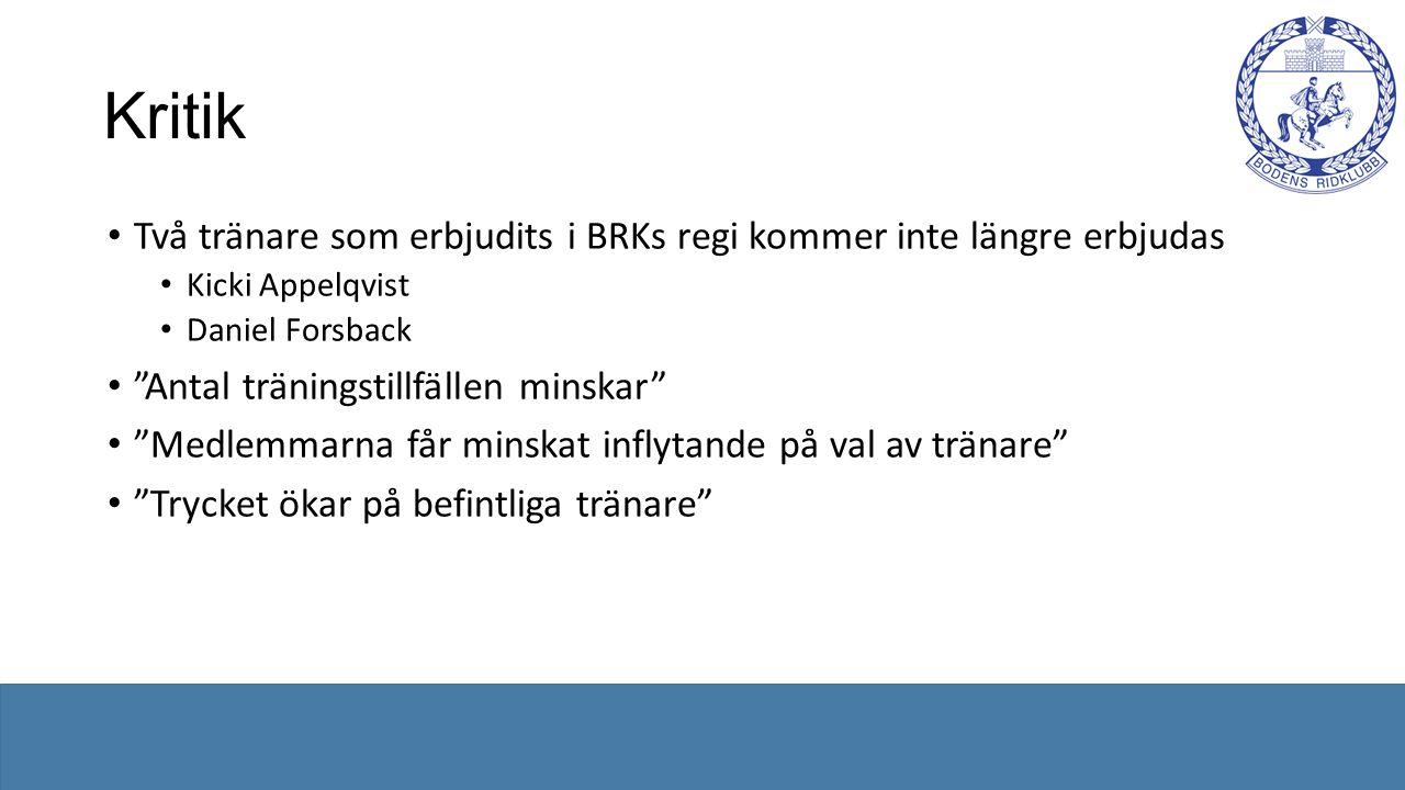 Kritik Två tränare som erbjudits i BRKs regi kommer inte längre erbjudas Kicki Appelqvist Daniel Forsback Antal träningstillfällen minskar Medlemmarna får minskat inflytande på val av tränare Trycket ökar på befintliga tränare