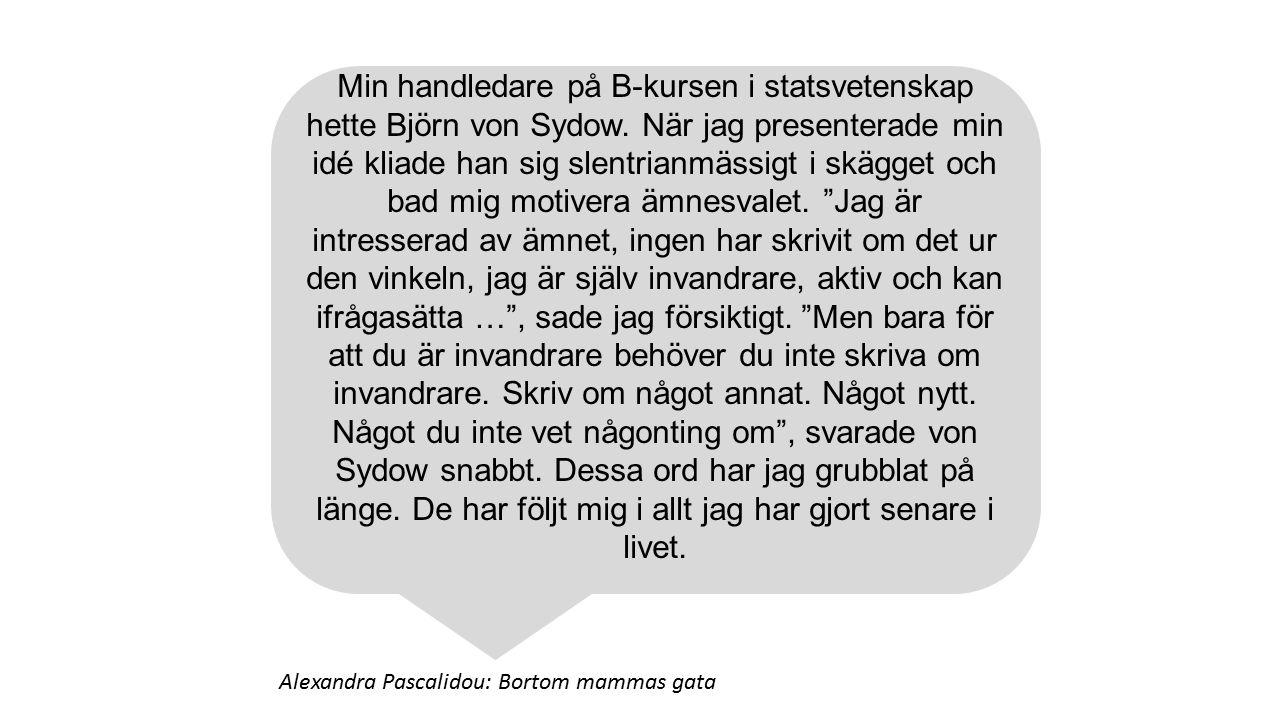 Min handledare på B-kursen i statsvetenskap hette Björn von Sydow. När jag presenterade min idé kliade han sig slentrianmässigt i skägget och bad mig