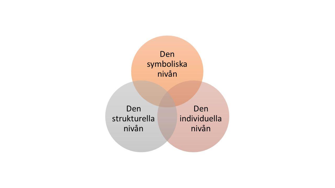 Den symboliska nivån Den individuella nivån Den strukturella nivån