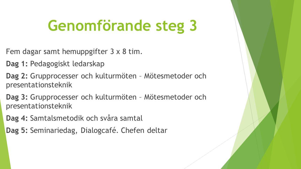 Genomförande steg 3 Fem dagar samt hemuppgifter 3 x 8 tim. Dag 1: Pedagogiskt ledarskap Dag 2: Grupprocesser och kulturmöten – Mötesmetoder och presen
