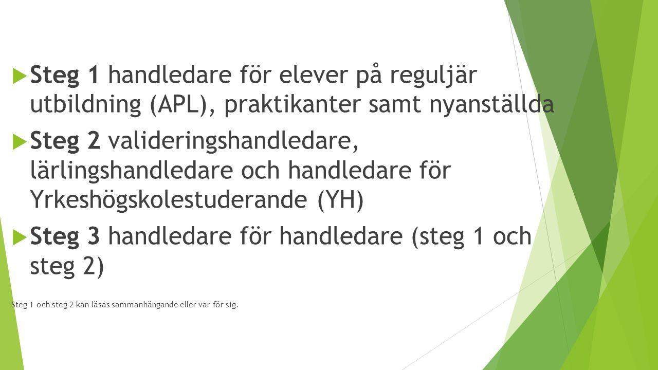  Steg 1 handledare för elever på reguljär utbildning (APL), praktikanter samt nyanställda  Steg 2 valideringshandledare, lärlingshandledare och hand